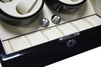 Keedz® Uhrenbeweger Elegance - Stilvoller Uhrenbeweger für 4 Automatikuhren mit zusätzlicher Uhrenaufbewahrung für 6 Uhren in schwarz und weißem Interieur mit 5 unterschiedlichen Programmen