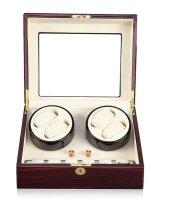 Keedz® Uhrenbeweger Elegance - Stilvoller Uhrenbeweger für 4 Automatikuhren mit zusätzlicher Uhrenaufbewahrung für 6 Uhren in Ebenholz und weißem Interieur mit 5 unterschiedlichen Programmen